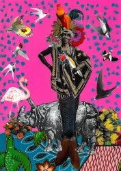 Mixed media collage print