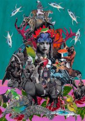 Mixed media collage print by Jacha Potgieter featuring many endangered species