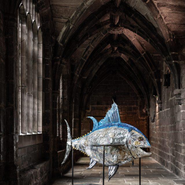 Atlantic Bluefin Tuna sculpture made from beach plastics.