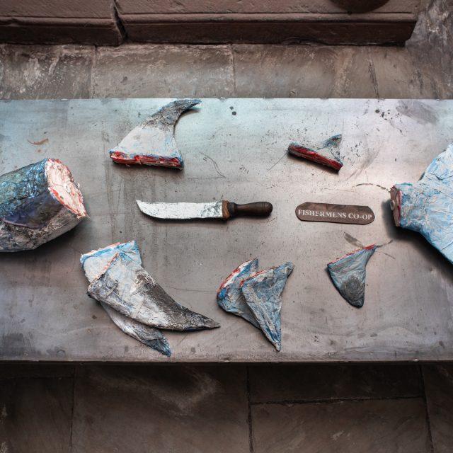 Shark finning sculpture made from beach plastics.