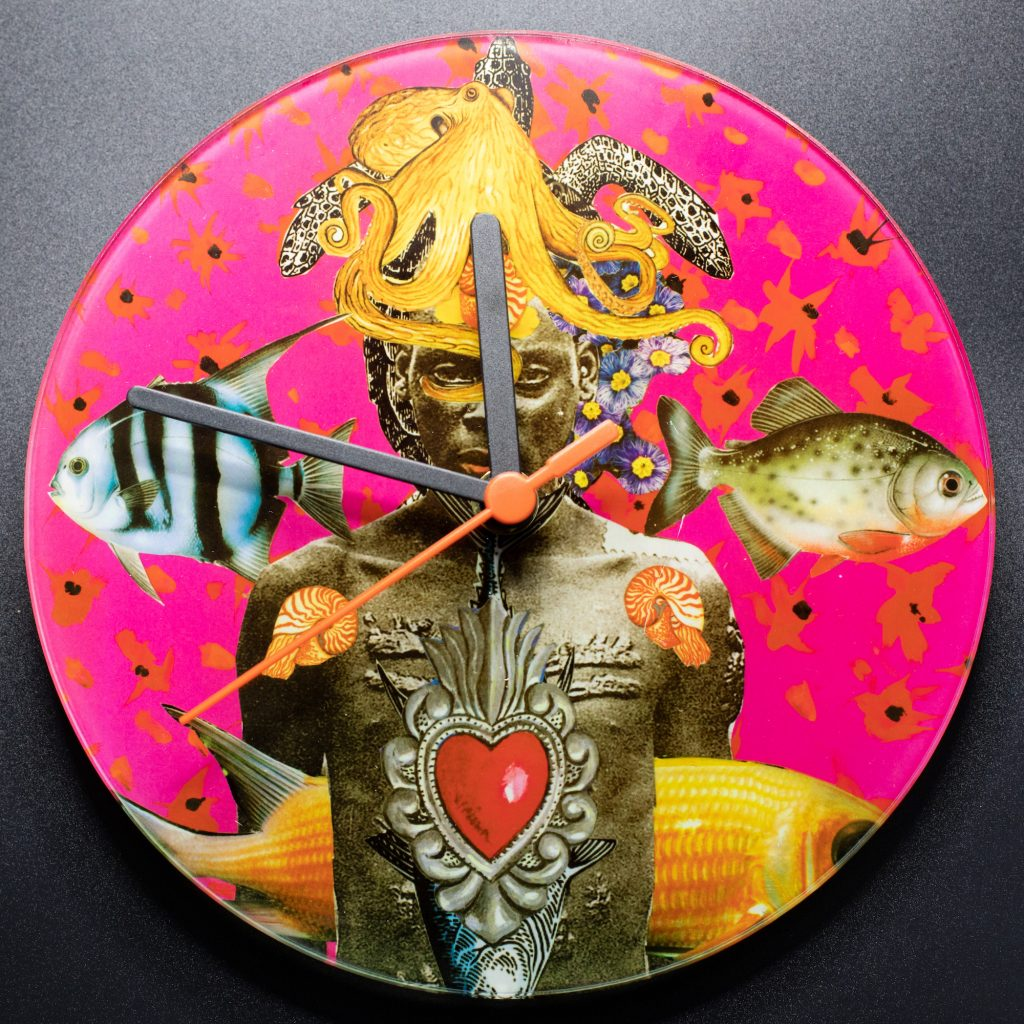 Glass clock with mixed media print designed by Jacha Potgieter