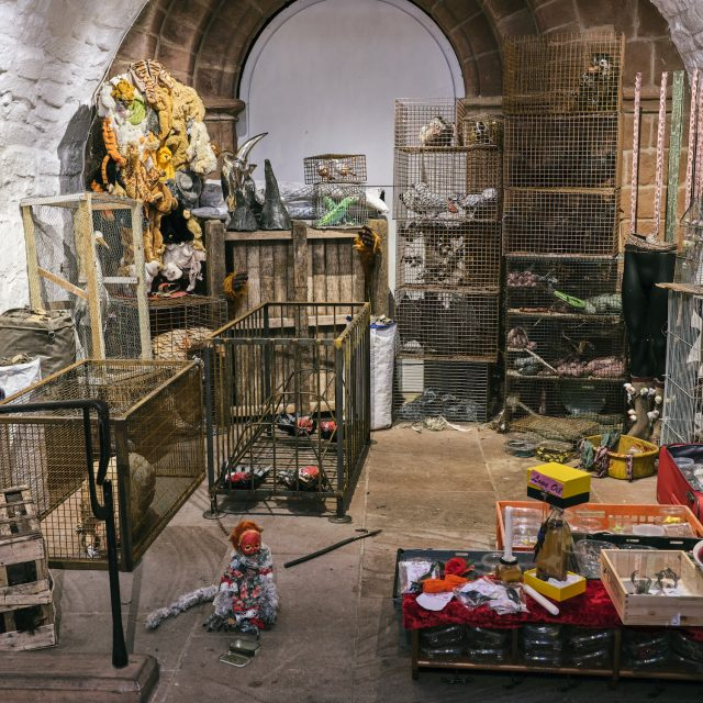 Animal wet market exhibition at Chester Cathedral